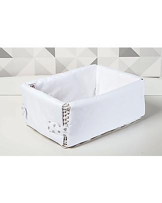Picci Cestino Portaoggetti Rivestito, Bianco/Grigio – 26 x 36 x 15 cm Contenitori Porta Giochi