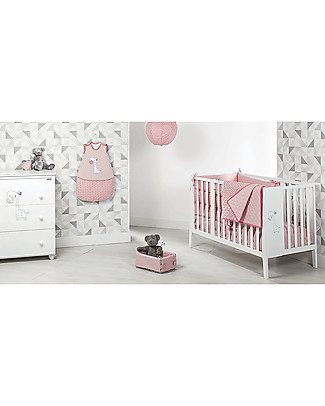 Picci OUTLET - Trapunta Baby Reversibile 115 x 140 cm, Rosa+Foglie - 100% cotone Coperte
