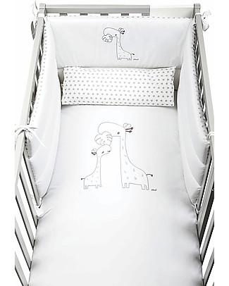 Picci Piumetto, Set di Tessili Ricamati per Lettino Nina, Bianco - Include piumino, copripiumino, federa e paracolpi Copripiumino e Federe