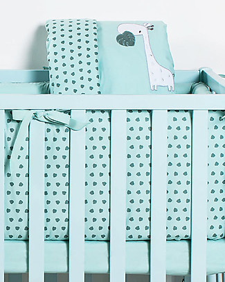 Picci Rivestimento Tessile per Culla Nina Converse, 4 pezzi, Acqua – Piumino, federa, paracolpi e coprimaterasso Copripiumino e Federe