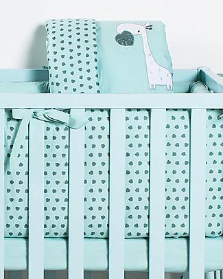 Picci Rivestimento Tessile per Culla Nina Converse, 5 pezzi, Acqua - Piumino, federa, paracolpi, materasso e coprimaterasso Copripiumino e Federe