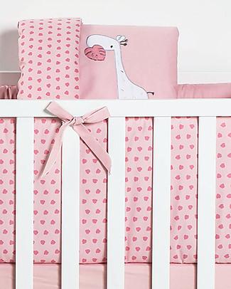 Picci Rivestimento Tessile per Culla Nina Converse, 5 pezzi, Rosa - Piumino, federa, paracolpi, materasso e coprimaterasso Copripiumino e Federe