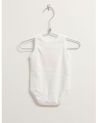 Picnik Body Senza Maniche, Bianco/Arancio – 100% Cotone, Unisex Body Manica Corta