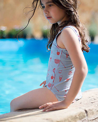 Picnik Costume Intero da Bambina, Celeste/Picnik - Cotone Costumi Interi