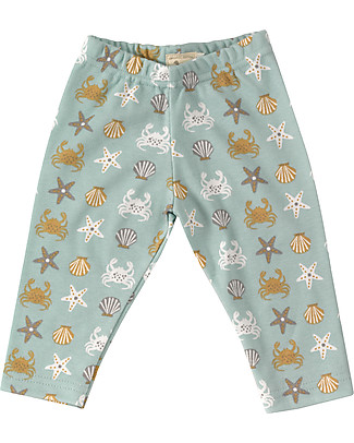 Pigeon - Organics for Kids Leggings Stampa Granchio, Turchese - 100% Cotone Bio Leggings