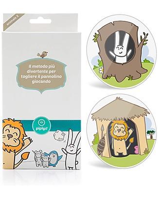 Pipiyo 2 Stickers + Metodo Magico per Togliere il Pannolino - Leone e Coniglio Vasini