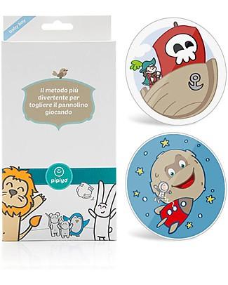 Pipiyo 2 Stickers + Metodo Magico per Togliere il Pannolino - Pirata e Razzo Vasini