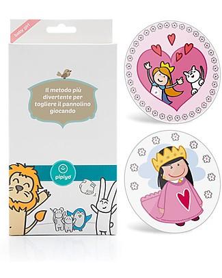 Pipiyo 2 Stickers + Metodo Magico per Togliere il Pannolino - Principessa e Cagnolino Vasini