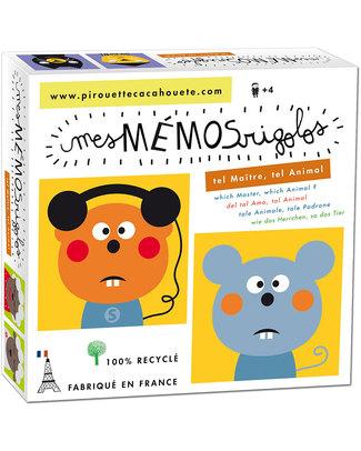 "Pirouette Cacahouète Gioco Memory ""Tale Padrone Tale Animale"" - Cartone Riciclato Memory"
