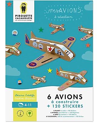 Pirouette Cacahouète I Miei Aeroplanini - Cartone Riciclato (6 Pezzi) Carta e Cartone