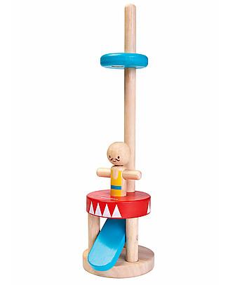 PlanToys Acrobata in Legno, 30 cm - Eco-friendly e divertente! Giochi da Tirare e Spingere
