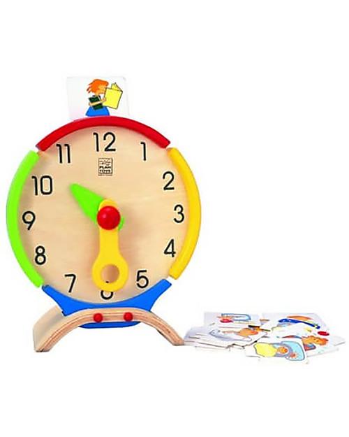 PlanToys Activity Clock, Orologio delle Attività in Legno - Insegna la percezione del tempo! Giochi Montessoriani