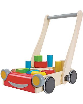 PlanToys Baby Walker, Giocattolo in Legno con Faccia Sorridente - Incoraggia a camminare! Giochi da Tirare e Spingere