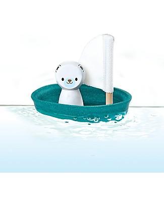PlanToys Barchetta Galleggiante in Legno, Orso polare 9x12x13 cm - Ecologica e divertente! Giochi Bagno