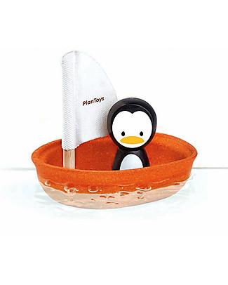 PlanToys Barchetta Galleggiante in Legno, Pinguino 9 x 12 x 13 cm - Ecologica e divertente! Giochi Da Spiaggia