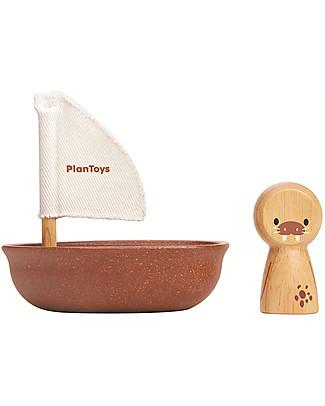 PlanToys Barchetta Galleggiante in Legno, Tricheco 9x12x13 cm - Ecologica e divertente! Giochi Da Spiaggia