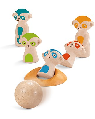 PlanToys Bowling Suricato in Legno, 7 pezzi - Eco-friendly e divertente! Giochi all'Aperto