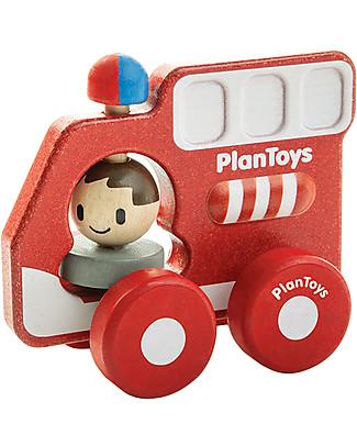 PlanToys Camion dei Pompieri in Legno, 16 cm – Eco-friendly e divertente! Giochi Creativi