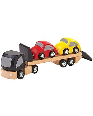 PlanToys Camion Giocattolo per Trasporto Auto in Legno - Macchinine Incluse! Macchine e Trenini  in Legno