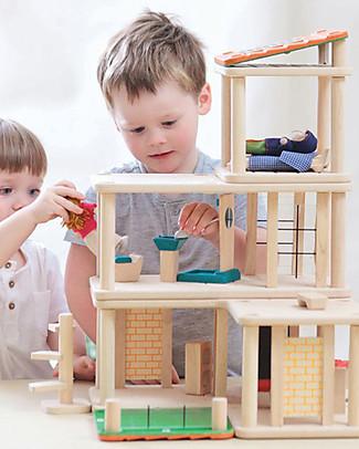 PlanToys Casa delle Bambole Creativa in Legno - Comprende ben 28 pezzi! Case delle Bambole