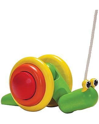 PlanToys Chiocciola da Tirare in Legno - Incoraggia il Movimento Giochi da Tirare e Spingere