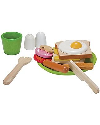 PlanToys Colazione Salata all'Inglese in Legno - Educa a Mangiare Composti Cucine Giocattolo e Cibo Finto