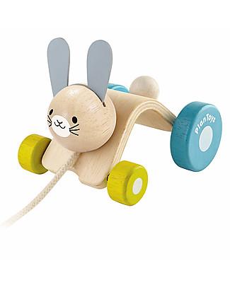 PlanToys Coniglietto Saltellante in Legno, Giocattolo da Tirare - Ecologico e divertente! Giochi da Tirare e Spingere