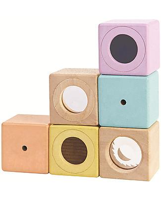 PlanToys Cubi Sensoriali in Legno - Sviluppo Visivo, Uditivo e Tattile Mattoncini da costruzione