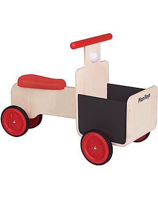 PlanToys Delivery Bike, Bici in Legno con Cestino e Dettagli in Lavagna - 18 mesi/5 anni Giochi da Tirare e Spingere