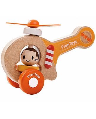 PlanToys Elicottero Baby in Legno, 16 cm - Eco-friendly e divertente! Giochi Per Inventare Storie