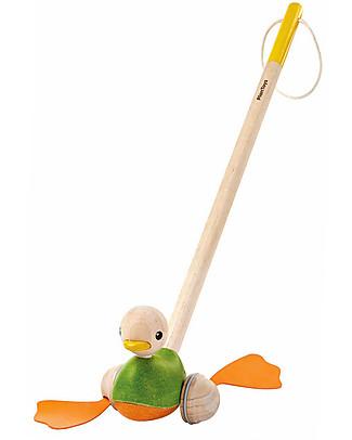 PlanToys Giocattolo da Spingere in Legno, Anatra - Ecologico e divertente! Giochi da Tirare e Spingere