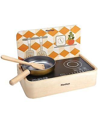 PlanToys Gioco Cucina Portatile in Legno con Padella - per Piccoli Chef Giochi Per Inventare Storie