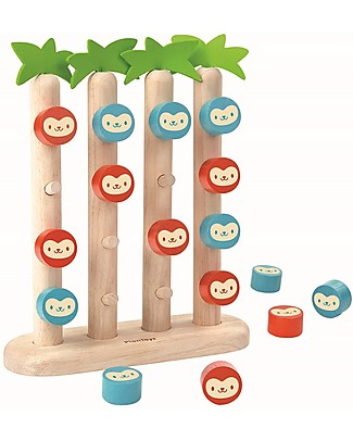 PlanToys Gioco da Tavolo in Legno Scimmiette in Fila - Un gioco classico ambientato nella foresta! Giochi Da Tavolo