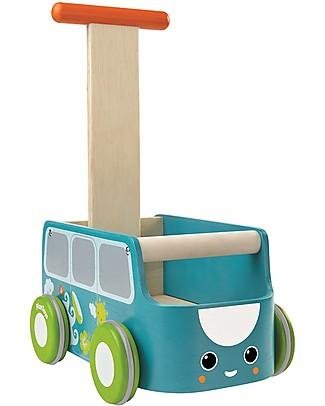 PlanToys Gioco in Legno Tirare e Spingere Furgocino, Azzurro - Migliora l'equilibrio e riordina Giochi da Tirare e Spingere