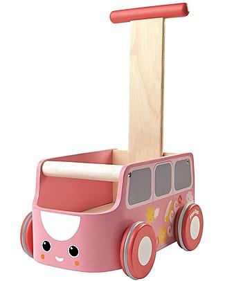 PlanToys Gioco in Legno Tirare e Spingere Furgocino, Rosa - Migliora l'equilibrio e riordina Giochi da Tirare e Spingere
