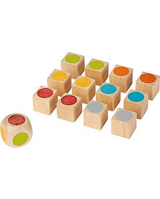 PlanToys Gioco Memory Mini in Legno, 12 cubi – Divertente ed ecologico! Memory