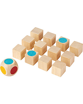 PlanToys Gioco Memory Mini in Legno, 12 cubi - Divertente ed ecologico! Memory