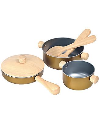 PlanToys Gioco Utensili in Legno da Cucina - per Piccoli Chef Giochi Per Inventare Storie
