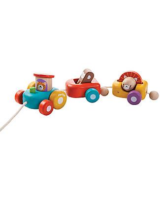 PlanToys Happy Engine, Giocattolo da Tirare in Legno, 3 pezzi - Ecologico e divertente! Giochi da Tirare e Spingere