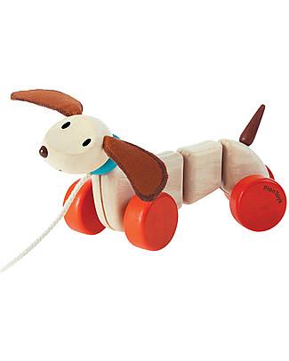 PlanToys Happy Puppy, Cucciolo da Tirare in Legno - Incoraggia il Movimento Giochi da Tirare e Spingere