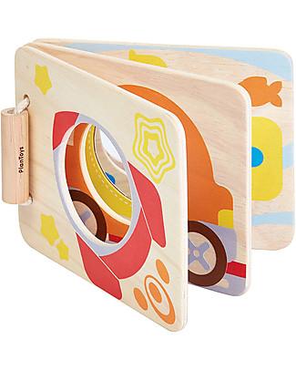 PlanToys Libro Baby in Legno con Specchio, Stimola Coordinazione – Eco-friendly e divertente! Giochi Per Neonati