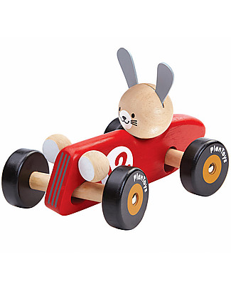 PlanToys Macchina da Corsa in Legno, Coniglietto, 16 cm - Eco-friendly e divertente! Giochi da Tirare e Spingere