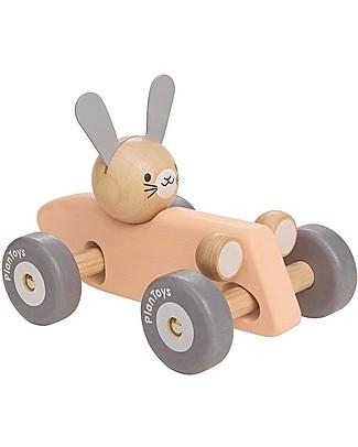 PlanToys Macchina da Corsa in Legno, Coniglietto - Inizia la Gara! Giochi da Tirare e Spingere