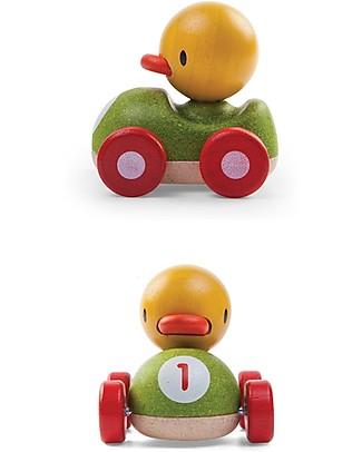 PlanToys Macchina da Corsa in Legno, Pulcino, 11 cm - Eco-friendly e divertente! Macchine e Trenini  in Legno