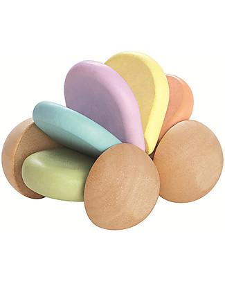 PlanToys Macchinina in Legno Color Pastello e Sonaglio - Eco-friendly e Divertente! Sonagli di Legno