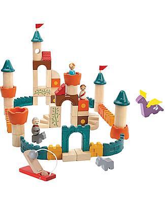 PlanToys Mattoncini Castello Fantasy in Legno - Comprende 60 pezzi, principe e principessa inclusi! Mattoncini da costruzione