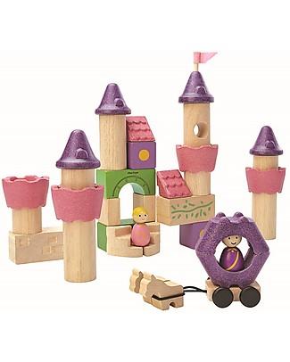 PlanToys Mattoncini Castello Fiaba in Legno - Comprende 35 pezzi, principe e principessa inclusi! Figurine e Set da Gioco