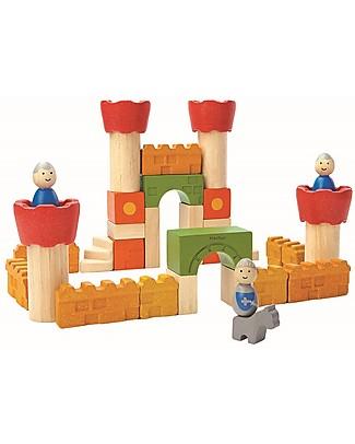 PlanToys Mattoncini Castello Medievale in Legno - Comprende 35 pezzi, cavalieri inclusi! Figurine e Set da Gioco