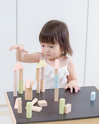 PlanToys Mattoncini in Legno color Pastello e Naturali - Comprende 40 pezzi Mattoncini da costruzione