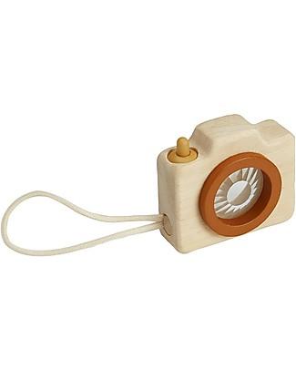 PlanToys Mini Macchina Fotografica in Legno con Lente Caleidoscopio - Incanta e Diverte! Giochi Per Inventare Storie